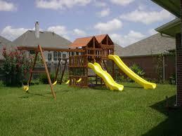Wooden Backyard Playsets Gemini Diy Wood Fort Swingset Plans Jacks Backyard Photo On