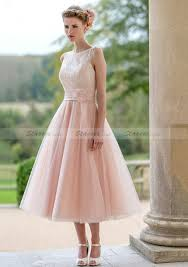 a line princess bateau tea length tulle bridesmaid dresses with