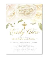 Invitation Cards For Dedication Of A Baby Everly Baby Boy Or Twins Dedication Invitation White Roses