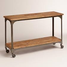 wood and metal console table topped with plants books or picture frames our console table gives