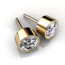 diamond stud earings 14kt yellow gold bezel set diamond stud earrings union diamond