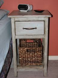 Rustic Side Table Narrow Reclaimed Wood Bedside Table With Rattan Basket Storage And