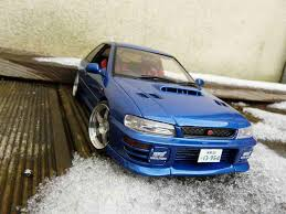 subaru autoart subaru impreza wrx type r gt turbo sti blue autoart diecast model