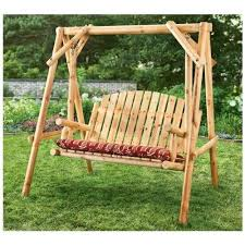 wood porch swing log style freestanding 2 seater outdoor yard