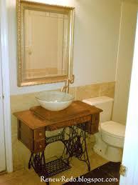 Furniture Bathroom Vanity Sewing Table Turned Bathroom Vanity Haha Pinterest Bathroom