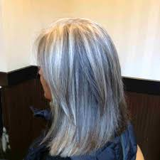 white hair with black lowlights transitioning to gray hair rubann salon