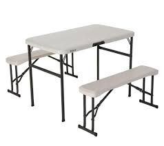 lifetime fold away picnic table lifetime 80352 42 in 107 cm recreation folding table set almond