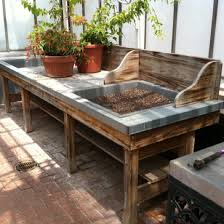 Redwood Potting Bench Recycled Pallet Furniture 25 Unique Ideas Bench Gardens And