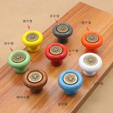 vintage round furniture knobs colorful ceramic carved drawer pulls