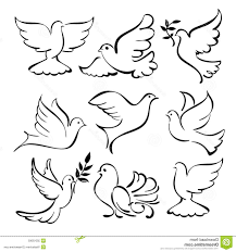 best hd abstract dove sketch set vector illustration flying