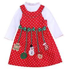 Amazoncom Baby Girls Christmas Dress Long Sleeve Polka Dot Snowman