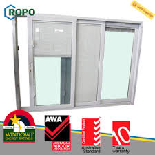 sliding glass door with blinds china thermal insulation upvc pvc plastic 3 track sliding glass