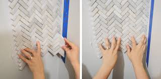 Mosaic Tile Installation How To Install A Marble Herringbone Tile Backsplash In The Laundry