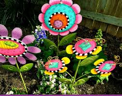 colorful metal flowers funcy and pretty look garden ornaments plus