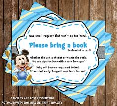 Baby Shower Invitations Bring A Book Instead Of Card Novel Concept Designs Baby Mickey Mouse Baby Boy Baby Shower