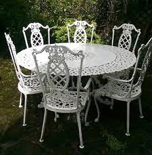 rare ornate wrought iron garden table set 6 chairs white summer bbq