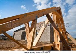 prefabricated roof trusses timber roof trusses stock photo royalty free image 87947193 alamy