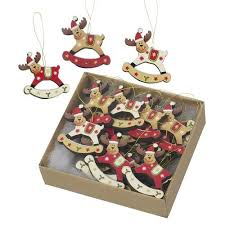 Deer Christmas Tree Decorations by 18 Red Gold U0026 White Wooden Traditional Reindeer Christmas Tree