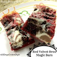 red velvet oreo magic bars