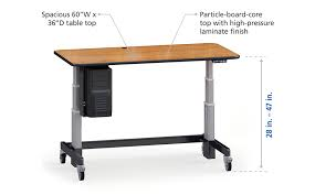 height adjustable sit or stand desk with cpu holder