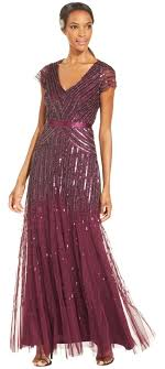 papell dresses papell cassis v neck cap sleeve beaded gown formal
