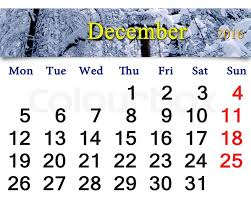 beautiful calendar for december 2016 with the ribbon of winter
