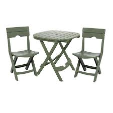 Folding Patio Chair by 3 Piece Fast Fold Outdoor Furniture Bistro Set In Sage Green