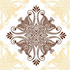 mendie style ornamental flower indian ethnic vector