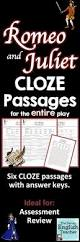 romeo and juliet cloze summary passages teacher shakespeare and