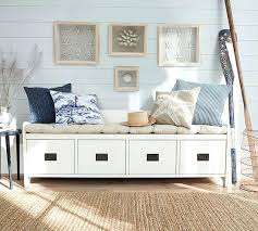 Upholstered Entryway Bench Pottery Barn White Upholstered Bench Wade Bench Almond White