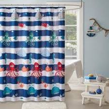 Shower Curtains With Fish Theme Blue White Stripes Aquarium Themed Shower Curtain Under Water