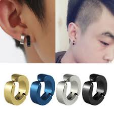 clip on earrings s fashion men s titanium steel magnetic clip on earrings no piercing