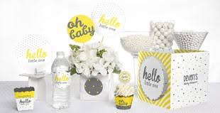 yellow and gray baby shower unique baby shower themes by babyshowerstuff