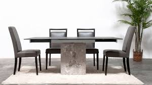 Modern Black Glass Dining Table Modern Citadel Extension Dining Table Grey Marble Base 12mm Acid