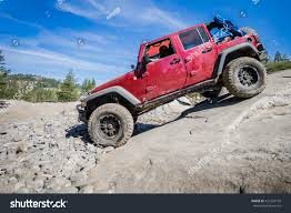rubicon trail 4x4 truck descending steep rock on stock photo 421563199