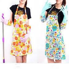 tablier de cuisine plastifié fleur impression de mode femmes en plastique cuisine tabliers de