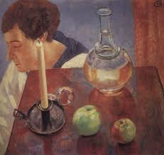 kuzma petrov vodkin still life with candle and carafe 1918