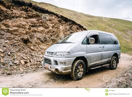 mitsubishi delica mitsubishi delica space gear on off road in georgian summer moun