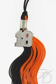 grad tassel black and orange tassel for 2018 graduation with silver year date