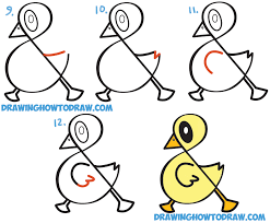 how to draw a cute cartoon duck from ampersand symbol easy step