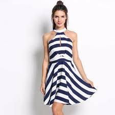 2017 summer new women cold shoulder dress white blue navy