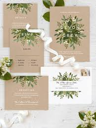wedding invitations in laurel of greens customizable wedding invitations in black or