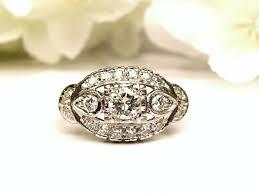 antique engagement ring transitional cut 0 71ctw diamond cluster