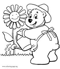 bears cute bear watering flower coloring coloring