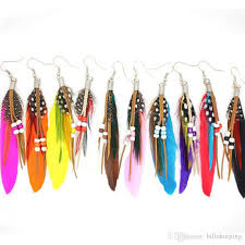 feather earring 2017 new bohemia tassels feather earring with mix colors