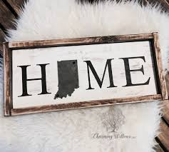 Art Decor Home by State Sign Indiana Sign Indiana Decor Home Wood Sign Metal