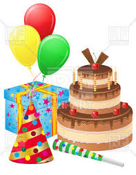 balloons gift birthday cake gift balloons and hat royalty free vector clip