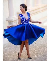 2016 royal blue custom made v neck backless short cocktail dresses