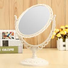 Cosmetic Mirror Desktop Double Sided Makeup Rotatable Mirror Oval Round Heart