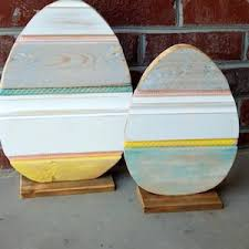 painted wooden easter eggs 50 best diy outdoor easter decorations prudent pincher